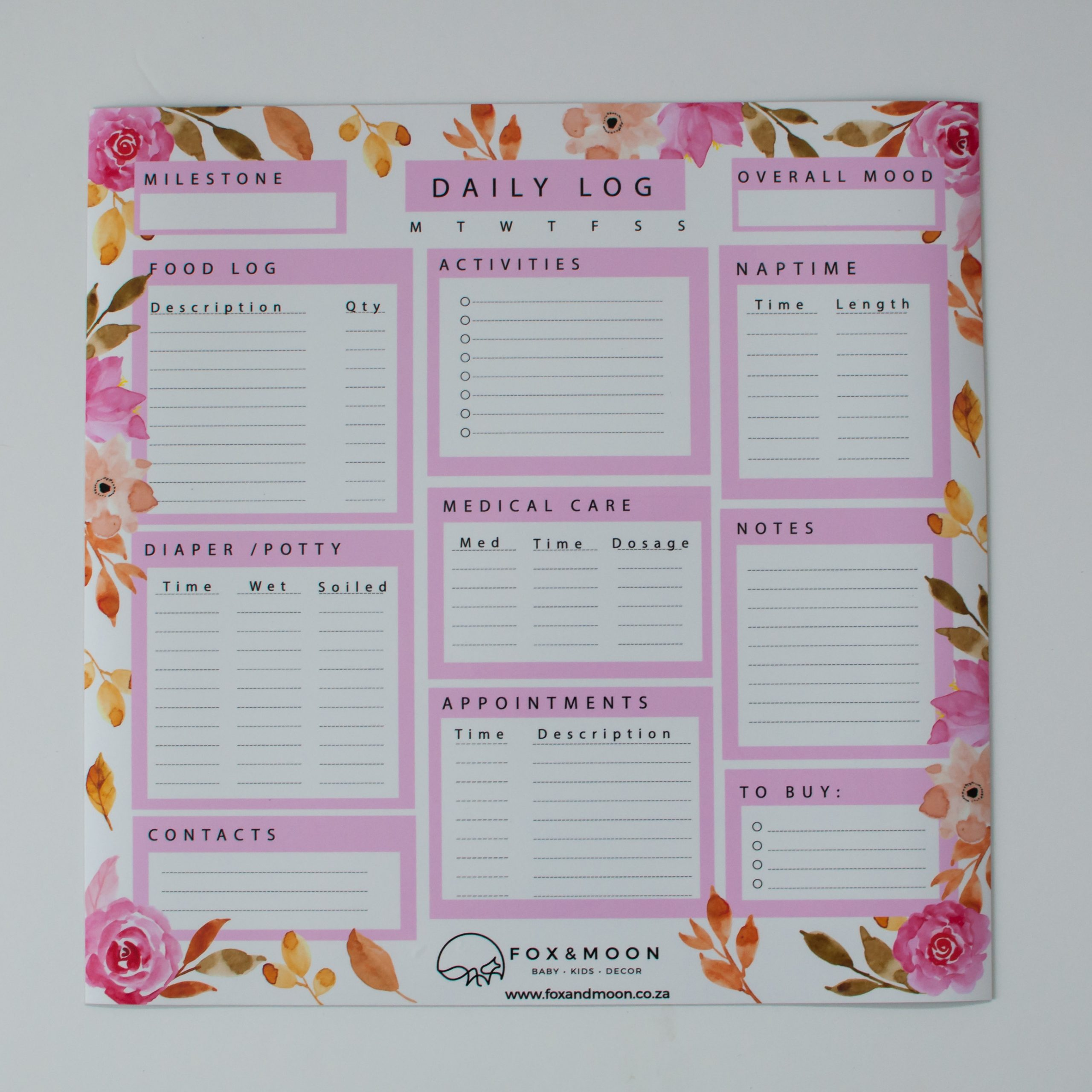 MAGNETIC DAILY WHITEBOARD LOG – PINK