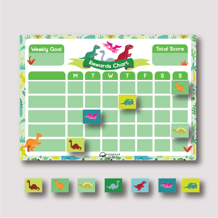 Magnetic Rewards Chart - Dino A3