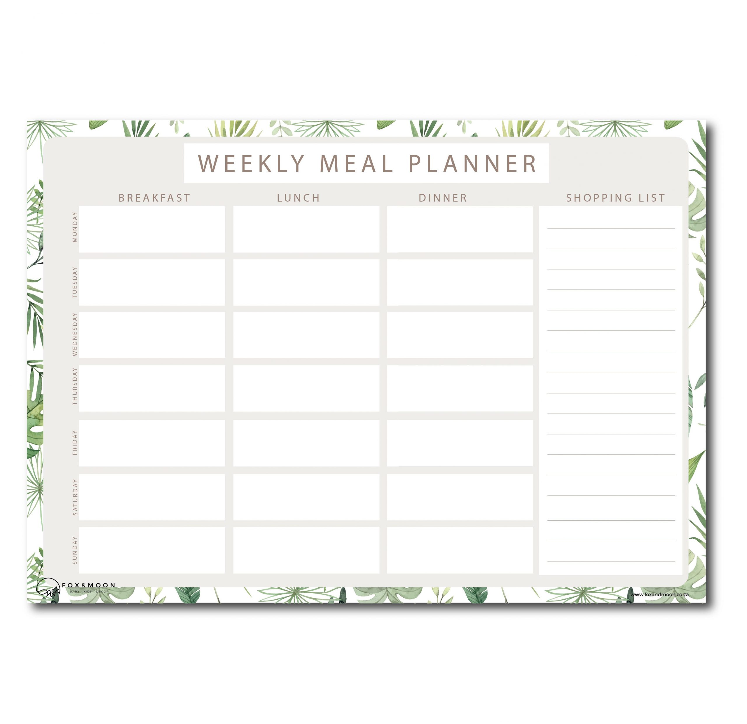 Magnetic Meal Planner - A3