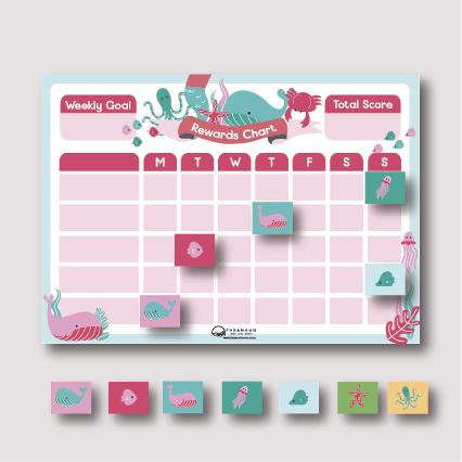 Magnetic Rewards Chart - Pink Sea A3