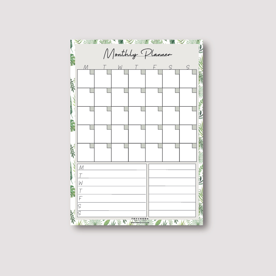 Magnetic Monthly Weekly Planner - Green A3