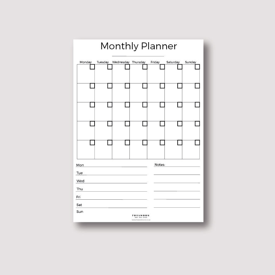 Magnetic Monthly Weekly Planner - Basic A3