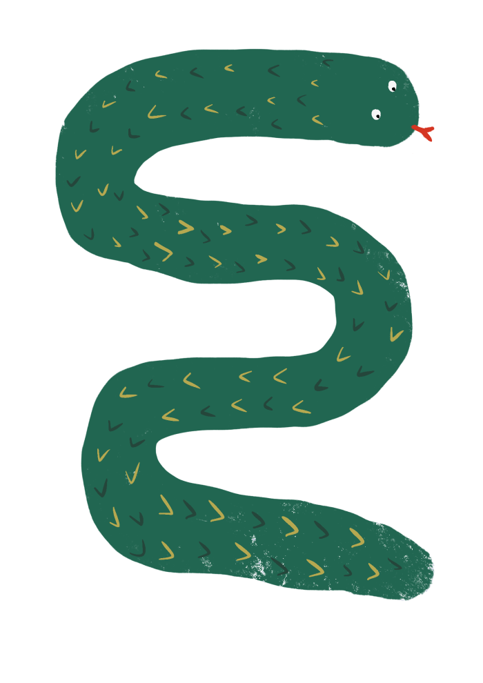 Fox & Moon - Snake Art Print