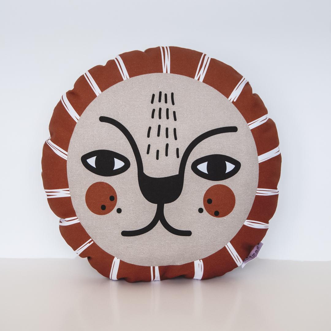 Boho Lion Pillow - Burnt Orange