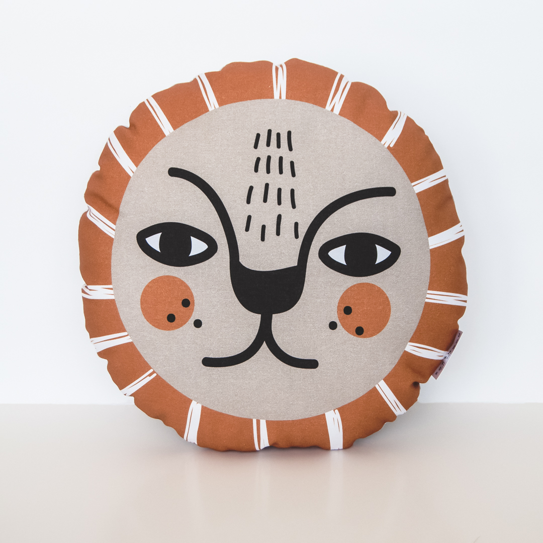 Boho Lion Pillow - Mustard