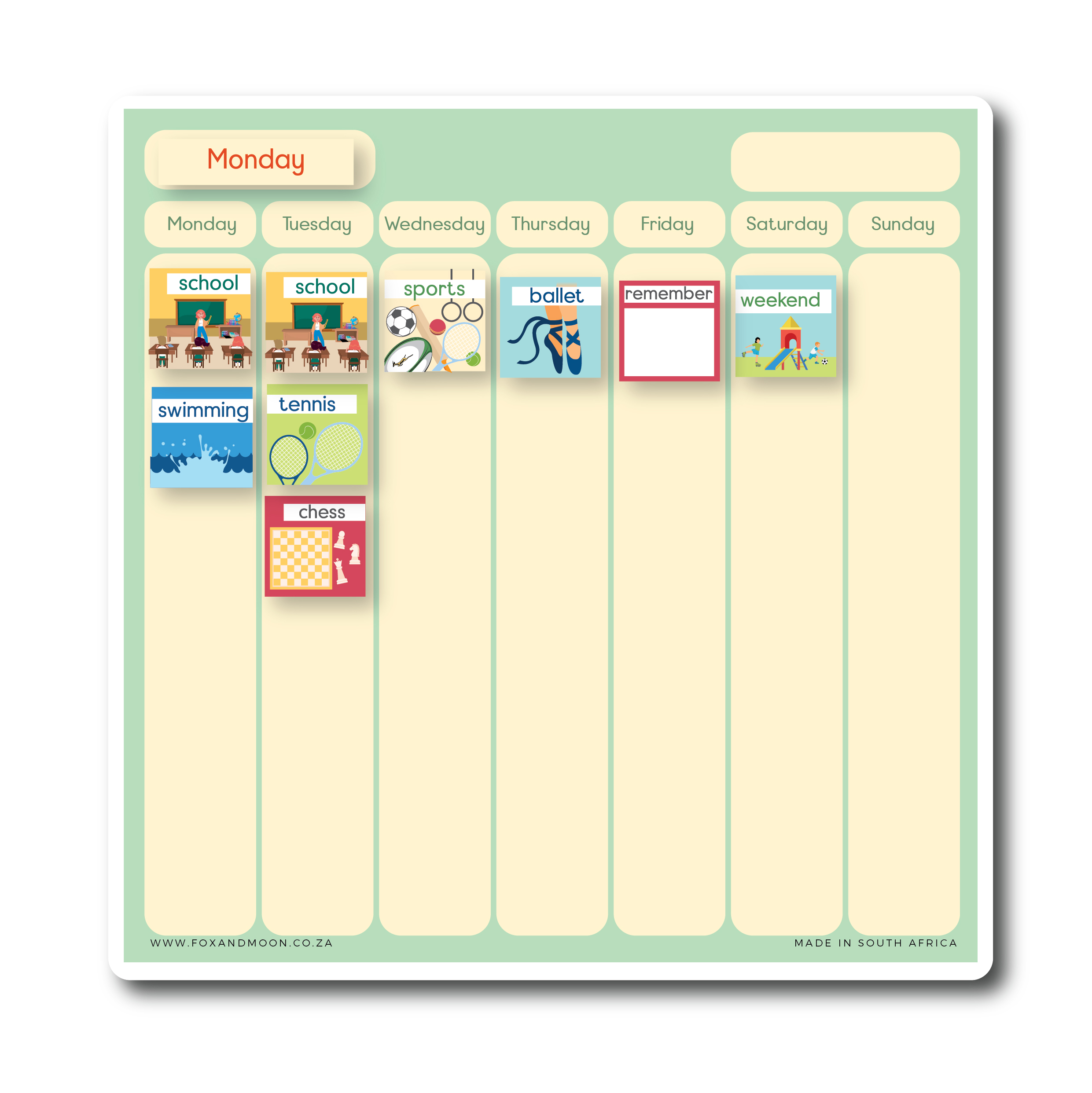 Magnetic Weekly Picture Planner - English