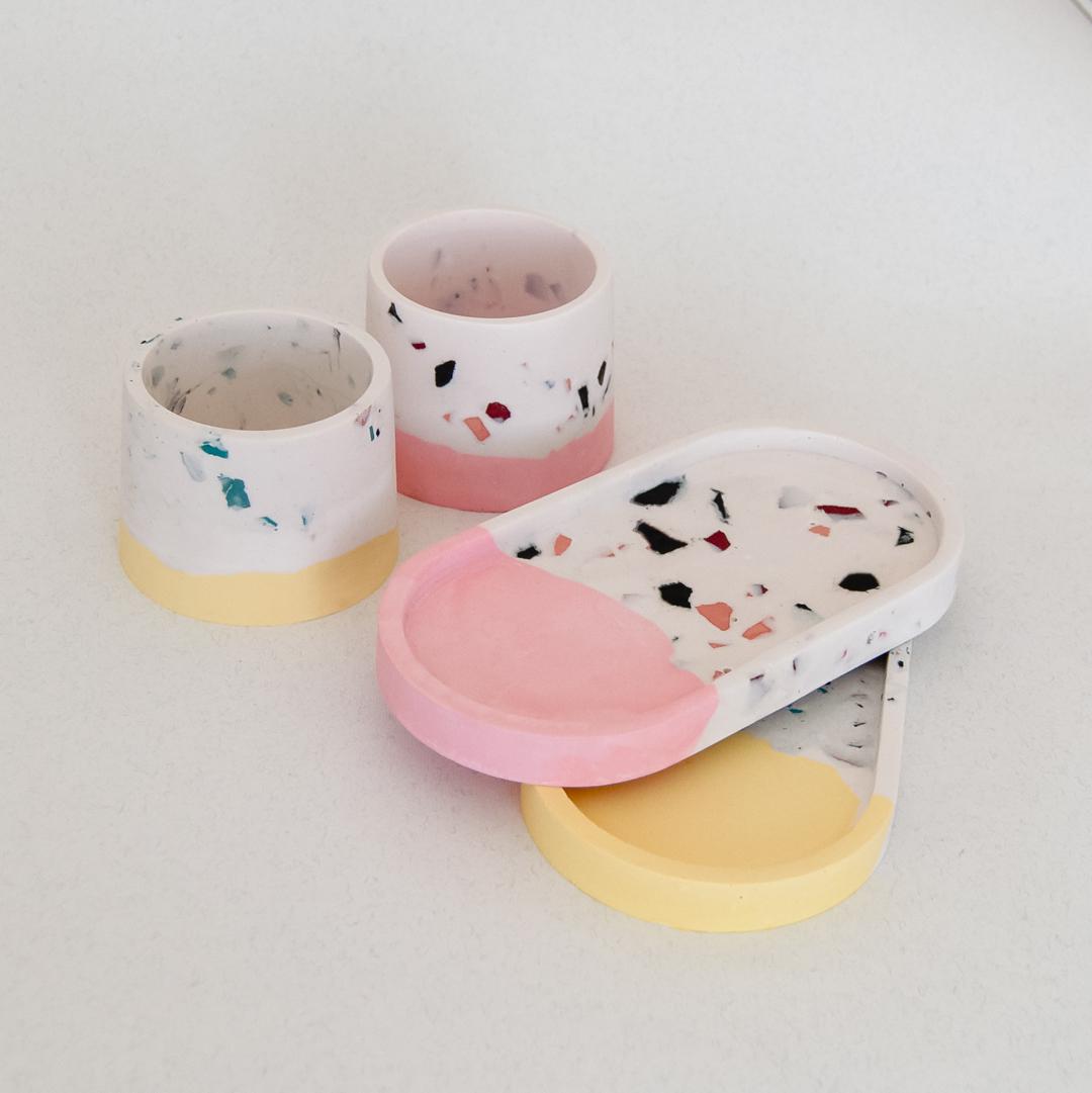 Pink Terrazzo Faux Stone set