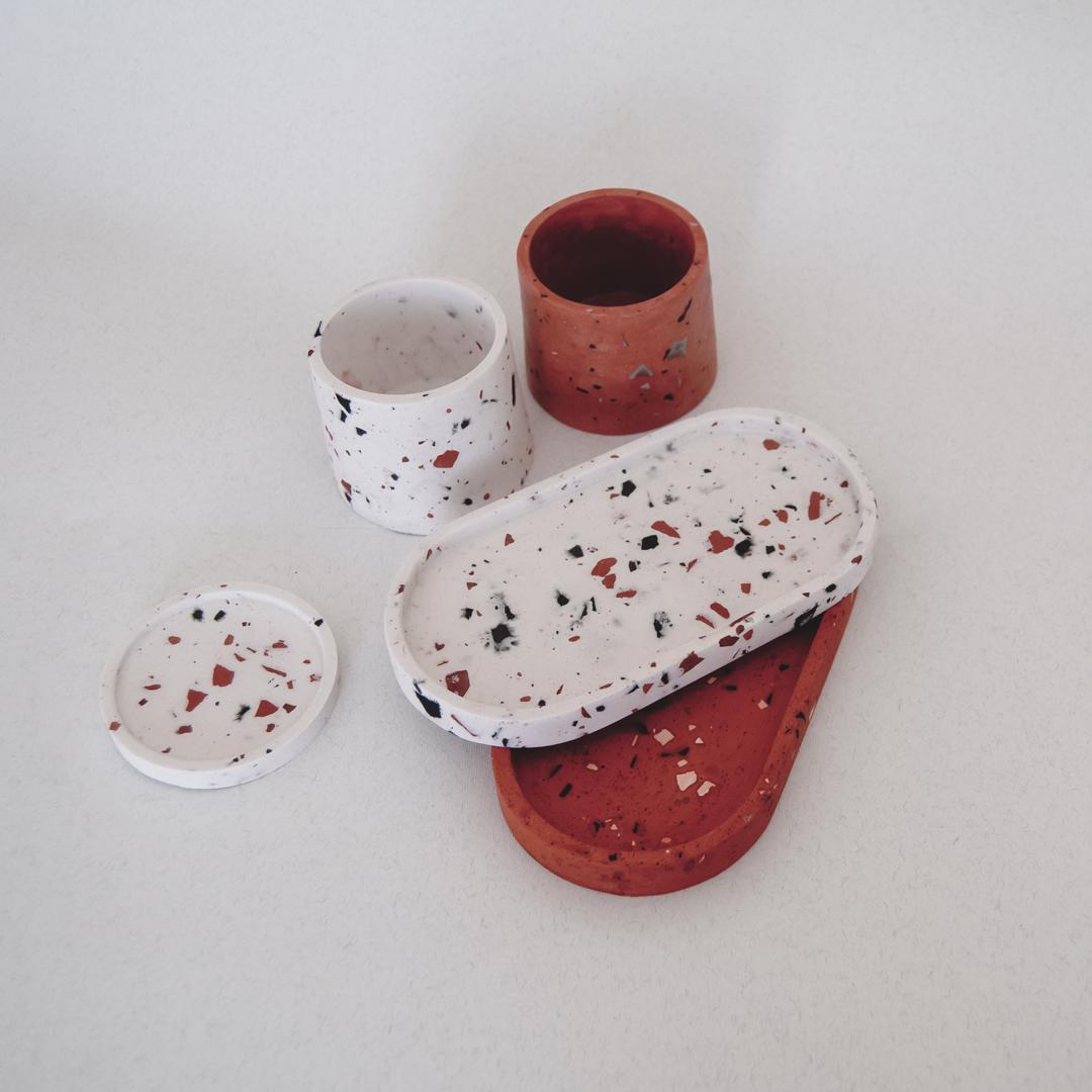 Terracotta Terrazzo Faux Stone set